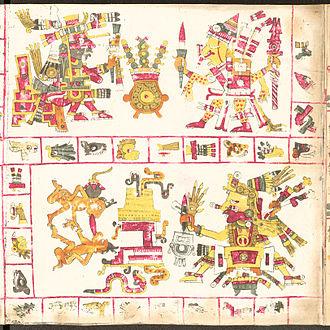 Aztec creator gods - Tonacatecuhtli (adove-left), Xipe-Totec (adove-right) and Xiuhtecuhtli (below) in the Codex Borgia.