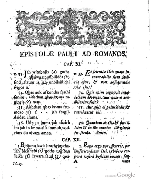 Codex Carolinus - Romans  11:33-12:1  in Knittel's  edition