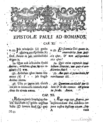 Franz Anton Knittel - Romans 11:33-12:1 in Knittel's edition of Codex Carolinus