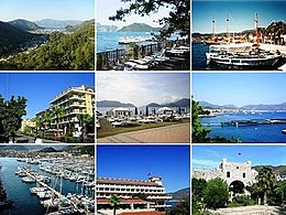 1. Distant view o Marmaris; 2. Beaches o Marmaris; 3. Widden yachts; 4. Marmaris center; 5. Beaches o Marmaris; 6. Dolphinarium in Marmaris; 7. Marina o Marmaris; 8. Hotel Mares; 9. Marmaris Castle.