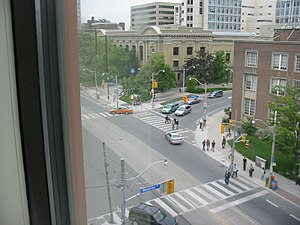 Transportation in Toronto - The corner of College St. and Beverley St. in downtown Toronto