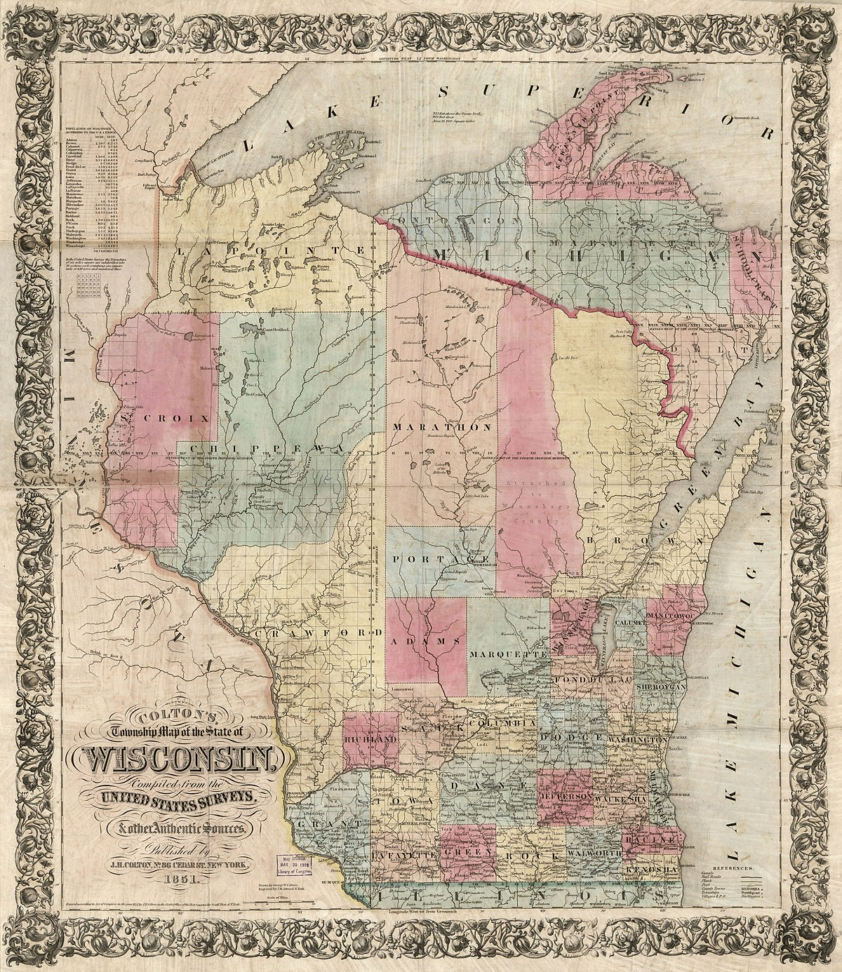 1851 boundaries of Brown County, prior to the separation of Door County in 1851