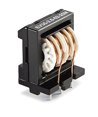 Inductor - A ferrite core inductor with two 20 mH windings.