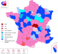 Party affiliation of the General Council Presidents of the various departments in the elections of 2011.