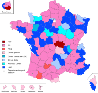 2011 French cantonal elections - Party affiliation of the General Council Presidents of the various departments in the elections of 2011