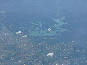 Coral Lake Tainan from airplane window.JPG