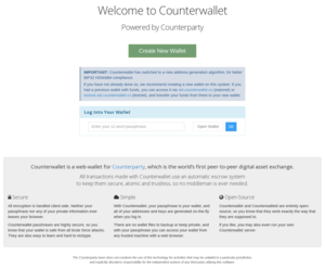 Counterparty (technology) - Screenshot of Counterwallet Homepage