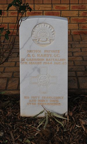 Ben Hardy (GC) - Gravestone at the Cowra War Cemetery