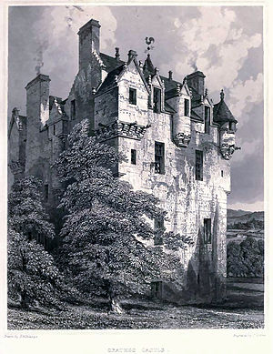 Robert William Billings - Crathes Castle, an illustration from Billings' Baronial and Ecclesiastical Antiquities of Scotland