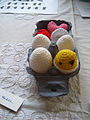Crocheted eggs - Brighton Mini Maker Fair 2011.jpg