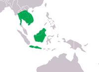 Rozšíření krokodýla siamského (zeleně).