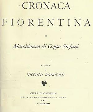 Cronaca fiorentina di Marchionne di Coppo Stefani - Image: Cronaca Fiorentina