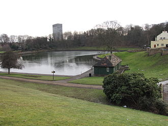 Crookes Valley Park - The lake with the University Arts Tower in the background.
