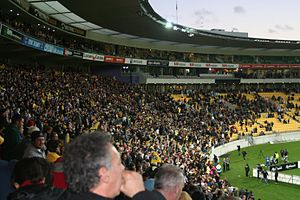 Association football in New Zealand - Wellington Phoenix vs Melbourne Victory game at the Westpac Trust Stadium in August 2007.