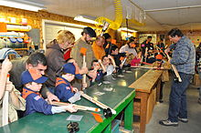 Cub Scouts make ice fishing lures in Eddington