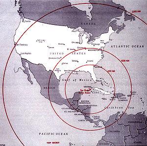 Kubakrise 1962: Reichweite der sowjetischen Raketen auf Kuba
