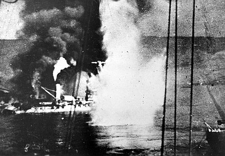 Battleship Bretagne on fire, still under bombardment Cuirasse Bretagne 03-07-1940.jpg