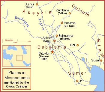 Map showing various places in Mesopotamia mentioned by the Cyrus Cylinder.