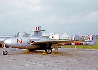 No. 601 Squadron RAF - De Havilland Vampire F.3 wearing the unit markings of No. 601 Squadron
