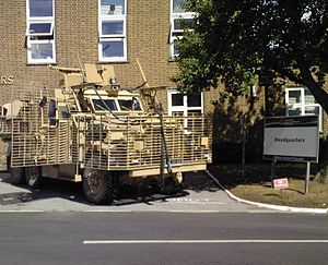 Defence School of Transport - Mastiff protective patrol vehicle outside the DST's Headquarters