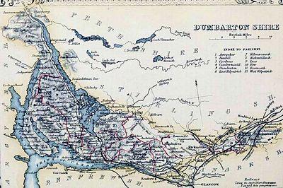 Dunbartonshire Parish Map Civil Parish Map C.1854