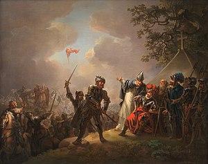 Даннеброг падает с неба во время битвы при Линданисе. Картина Кристиана Августа Лорентцена, 1809 год.