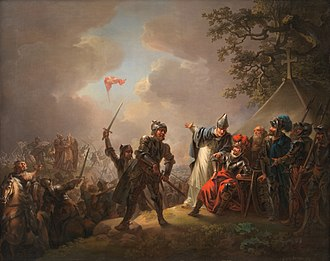 Flag of Denmark - Dannebrog falling from the sky during the Battle of Lyndanisse, June 15, 1219. Painted by Christian August Lorentzen in 1809. Original located at Statens Museum for Kunst, Denmark