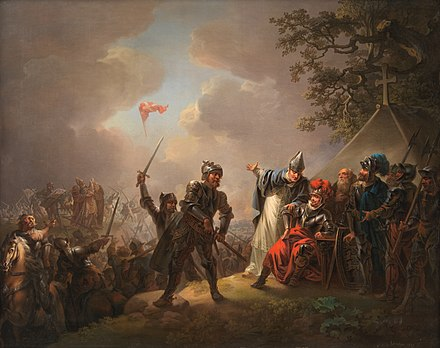 The Danish flag falling from the sky in the 1219 Battle of Lindanise. Danmarks flag 1219 Lorentzen.jpg