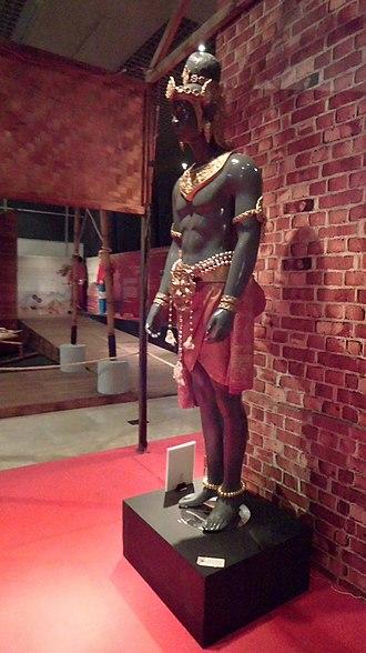 "Sri Jayanasa of Srivijaya - The depiction of Dapunta Hyang Sri Jayanasa, the first emperor of Srivijaya, displayed in ""Kedatuan Sriwijaya"" exhibition in November 2017. National Museum of Indonesia, Jakarta, Indonesia."