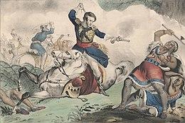 Tecumseh si stringe il petto dopo che Johnson gli ha sparato da cavallo
