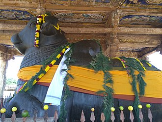 Nandi (bull) - Decorated Nandhi at temple in Thanjavur
