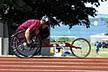 Defense.gov News Photo 110716-N-CQ678-001 - Former U.S. Marine Corps Sgt. Tim Connor one of 59 paralympic military athletes practices sprints in a racing wheelchair at McCool Memorial Track.jpg