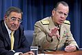 Defense.gov News Photo 110804-D-WQ296-114 - Chairman of the Joint Chiefs of Staff Adm. Mike Mullen responds to a reporter s question during a Pentagon press briefing with Secretary of Defense.jpg