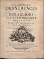 Deidier - Mesure des surfaces et des solides, par l'arithmetique des infinis et les centres de gravité, 1740 - 794507.tif