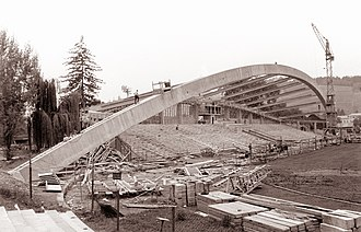 Ljudski vrt - The construction of the main stand in 1961.