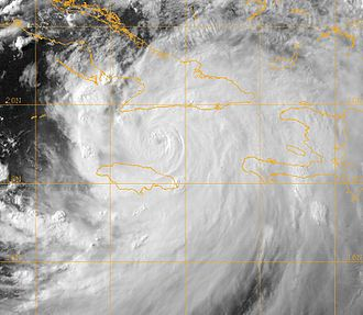 Effects of Hurricane Dennis in Jamaica - Hurricane Dennis intensifying between Jamaica and Cuba on July 7