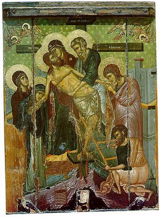 Joseph of Arimathea - 14th century Byzantine Icon of the Descent from the Cross from the Church of Saint Marina in Kalopanagiotis, Cyprus. Saint Joseph of Arimathea is the figure standing in the center, in blue-green robes holding the Body of Christ.