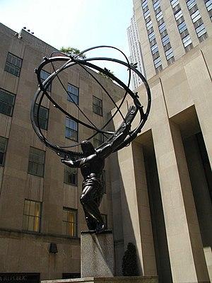 English: Atlas statue at Rockefeller Center in...