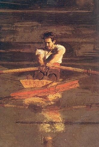 Max Schmitt in a Single Scull - Detail: Eakins's self-portrait.