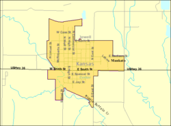 Detailed map of Mankato, Kansas