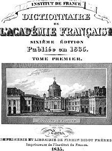 Dictionnaire de l'Académie Française de 1835