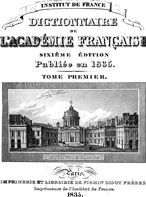 Académie française - Title page of the 6th edition of the Académie's dictionary (1835)