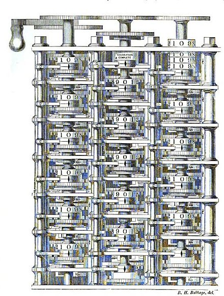 A portion of Babbage's Difference engine. Difference engine plate 1853.jpg