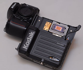 Digital camera back - Kodak DCS420 digital camera, consisting of a modified Nikon N90s body (left) and a digital back (right) shown here separated.