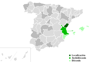 Roman Catholic Diocese of Segorbe-Castellón - Map of the Roman Catholic Diocese of Segorbe-Castellón (dark green)
