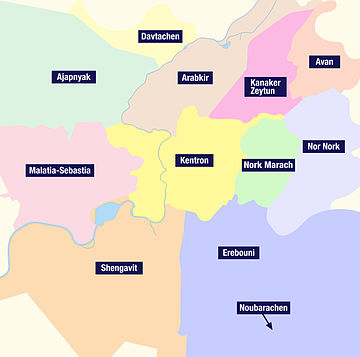 The twelve districts of Yerevan
