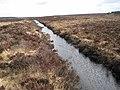 Ditch below Friar's Ridge, Cowper Stone visible right - geograph.org.uk - 1753526.jpg
