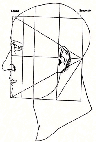 Luca Pacioli - Woodcut from De divina proportione illustrating the proportions of the human face. Note that the lines or rectangles drawn do not correspond to the golden ratio; this is from the second part of the book, covering the Vitruvian system.