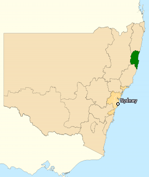 Division of Cowper - Division of Cowper in New South Wales, as of the 2016 federal election.