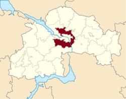 Vị trí của huyện Dnipro trong tỉnh Dnipropetrovsk